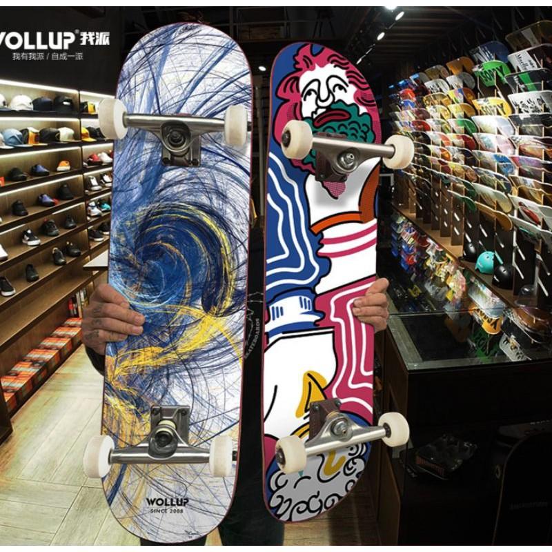 Ván trượt thể thao Skateboard chất liệu gỗ phong ép cao cấp 7 lớp tải trọng 200kg mặt nhám đá kim cương ván người lớn