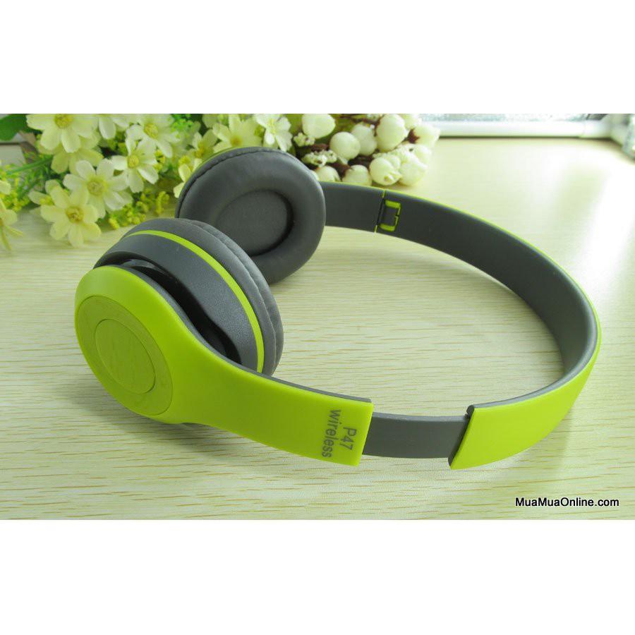 Tai Nghe Bluetooth Chụp Tai P47 màu xanh lá chuối non dùng được thẻ nhớ kiêm blutooth nghe nhạc - 3552873 , 1047307230 , 322_1047307230 , 189000 , Tai-Nghe-Bluetooth-Chup-Tai-P47-mau-xanh-la-chuoi-non-dung-duoc-the-nho-kiem-blutooth-nghe-nhac-322_1047307230 , shopee.vn , Tai Nghe Bluetooth Chụp Tai P47 màu xanh lá chuối non dùng được thẻ nhớ kiêm