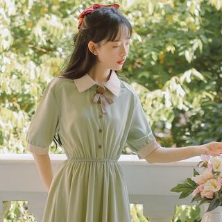 Đầm Nữ Cổ Bẻ Thắt Nơ Phong Cách Retro Nhật Bản Xinh Xắn Đáng Yêu