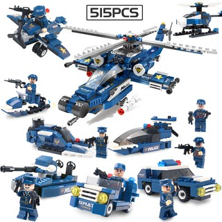 8 in 1 515pcs SWAT police series building blocks children educational toys logical thinking work out kids gift