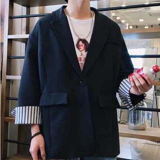 Hong Kong style Chic suit male personality cuff coat Korean version of loose solid color retro student small suit tide
