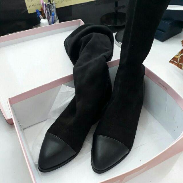 Giầy boot cao  đùi da lộn lót lông đế thấp
