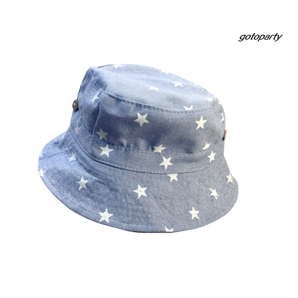 GOTO-H  Star Print Soft Cotton Summer Baby Sun Cap Infant Boys Girls Denim Bucket Hat