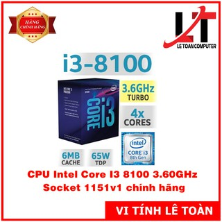 CPU Intel Core I3 8100 3.60GHz Socket 1151v1 cũ