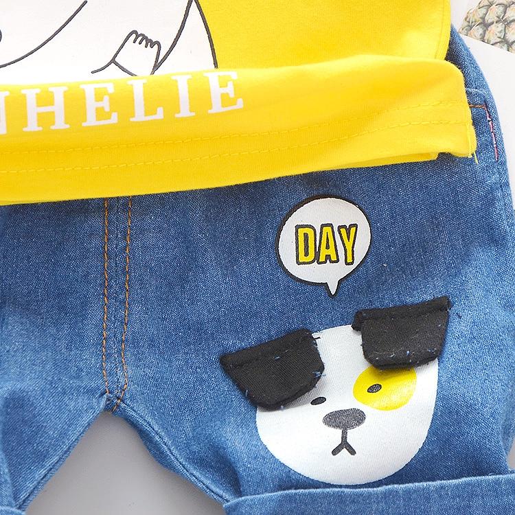 Bộ 2 món áo tay ngắn + quần short denim phong cách thời trang cho bé trai và bé gái