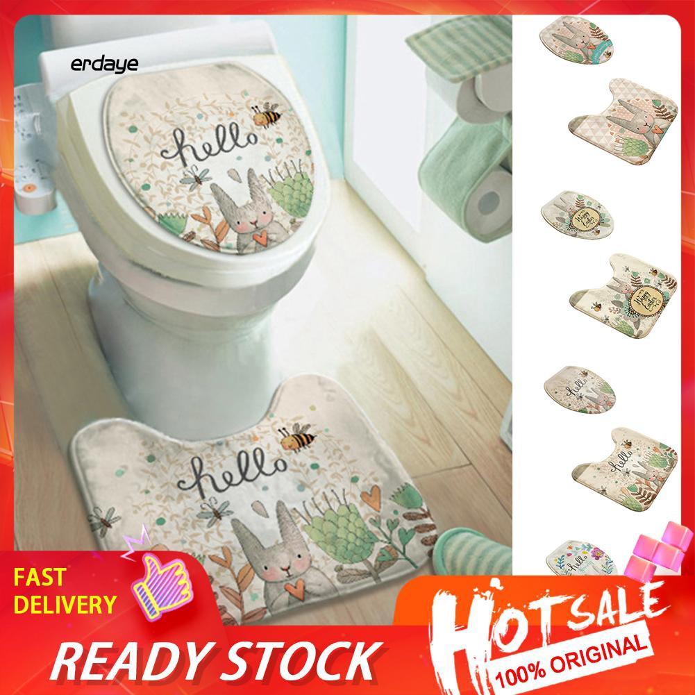 EDY_2Pcs/Set Cartoon Rabbit Bathroom Toilet Lid Cover Anti-skid Carpet Floor Mat Pad
