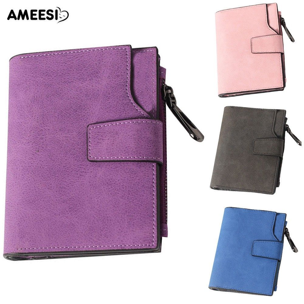 👜👝AMEESI Women Solid Matte Multi Slots Faux Leather Purse Wallet