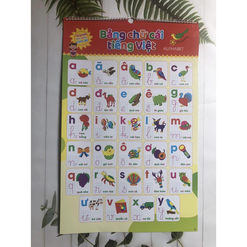 Bộ tranh bảng chữ cái treo tường 12 chủ đề cho bé học song ngữ
