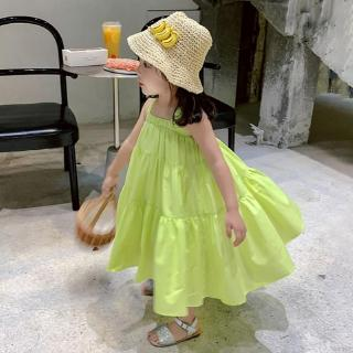 Đầm hai dây cổ vuông phối xếp ly phong cách Hàn Quốc cho bé gái