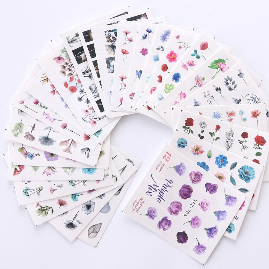 Tờ Sticker Hình Hoa Dán Móng Nghệ Thuật
