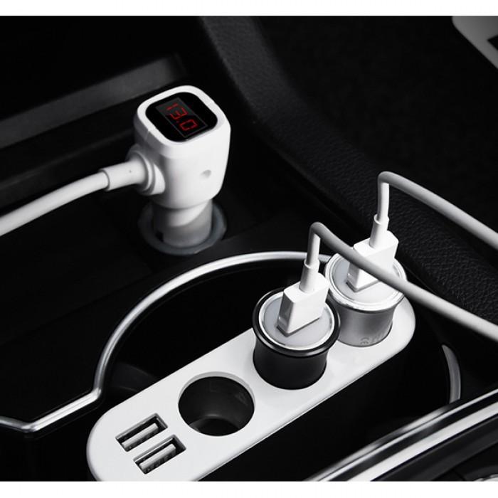 Bộ Chia Tẩu Sạc Ô Tô Hoco Z13 3 Tẩu Sạc, 2 Cổng Sạc USB - BH 1 Năm   Sạc xe hơi   Bộ chia tẩu sạc