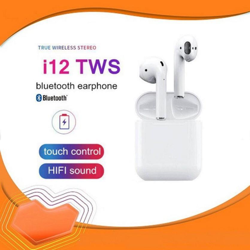☼№♚[ GIÁ SIÊU SỐC] Tai Nghe Bluetooth 5.0 i12 TWS [CẢM ỨNG VÂN TAY] (Màu trắng)
