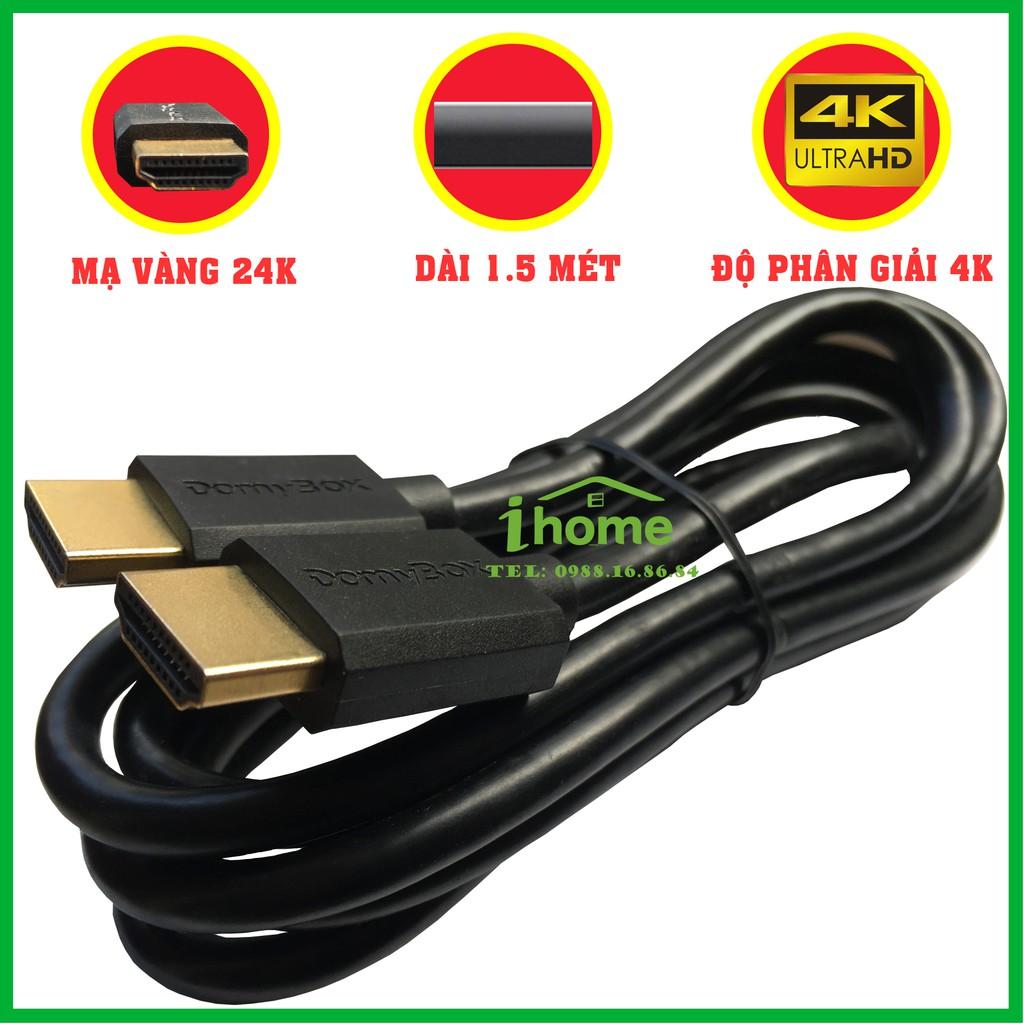 Dây cáp 2 đầu HDMI 4K Ultra HD và 3D cao cấp DomyBox dây đồng nguyên chất đầu mạ vàng 24K dài 1.5 mét