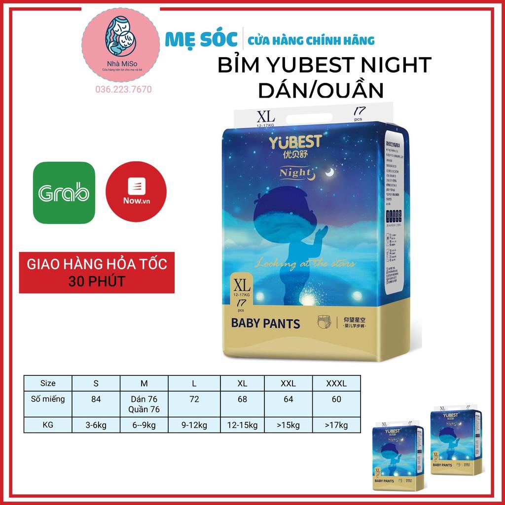 Bỉm Yubest Night Ban Đêm Dán/Quần Siêu Thấm Hút Đủ Size S80-M76-M76-L72-XL68-XXL64-XXXL60