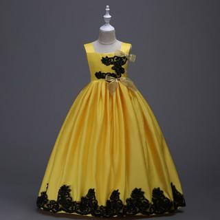 Đầm dạ hội sát nách phối ren hoa sang trọng dành cho bé