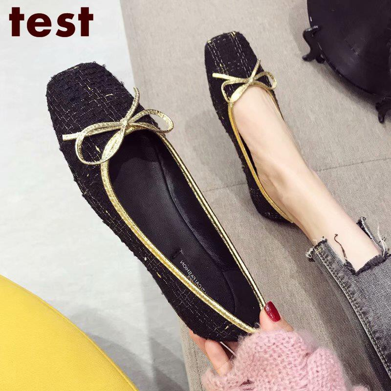 Bow shoes women's single shoes small fragrance wind shallow mouth soft bottom sq