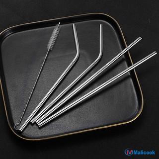 Bộ ống hút Inox [SIÊU SALE 1K] 304 cao cấp  Malicook bộ ống hút thằng + cong + 1 cọ rửa