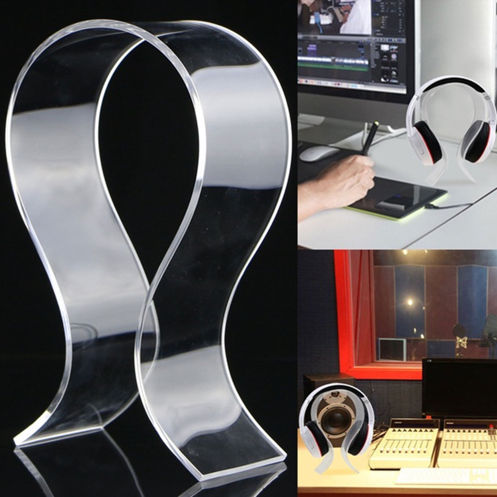 Headphone Display Stand Holder Rack Acrylic Head Mounted Earphone Desk