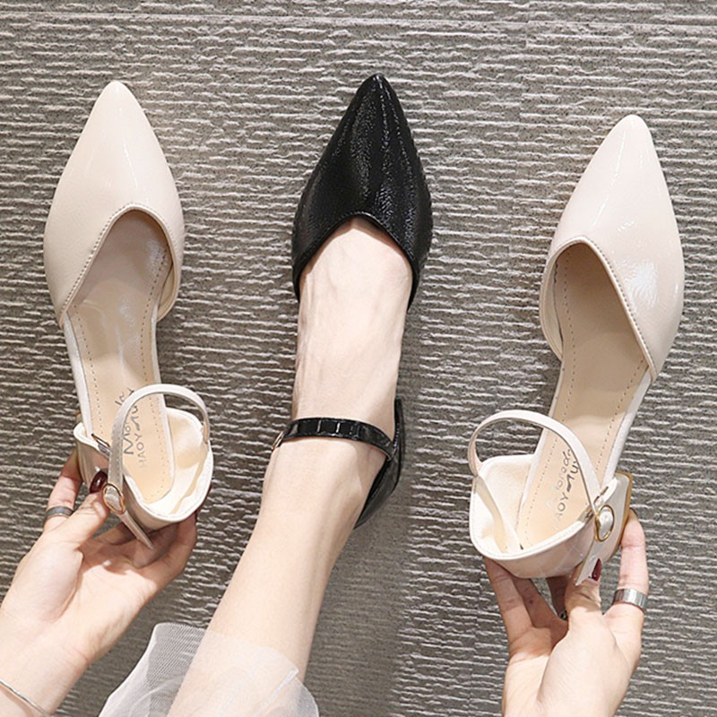 Pointed gentle wind fairy evening dress with thick heel high heel baotou sandals