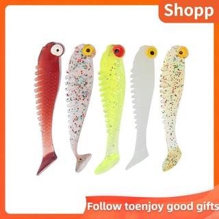 SHOPP 50Pcs/Bag Artificial Fishing Lures Soft Silicone Baits Lifelike Paddle Tail Swimbait