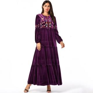Đầm Nhung Tím Phong Cách Hồi Giáo Cho Nữ