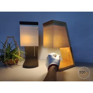 Đèn ngủ gỗ để bàn Veneer Vintage || Tặng kèm bóng led