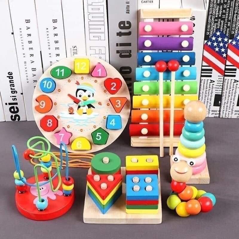 Set 6 món đồ chơi gỗ kích thích giác quan bé
