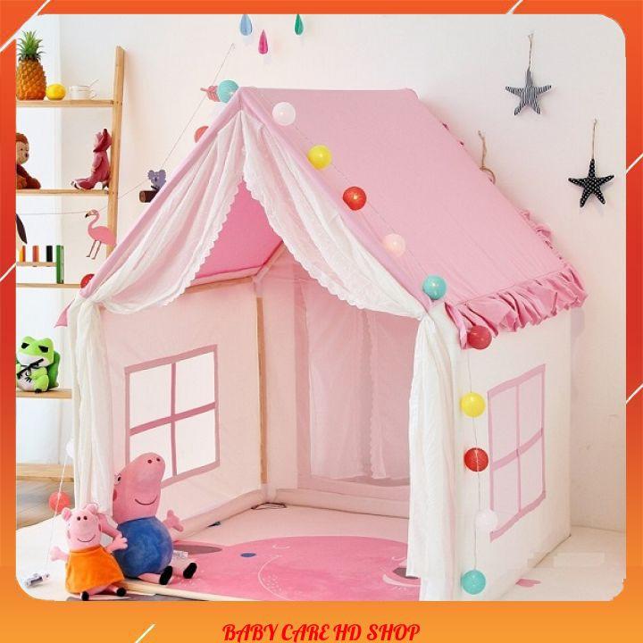 Lều hình ngôi nhà 🧡[FREESHIP]🧡 công chúa, hoàng tử cho bé trai bé gái, có 2 màu xanh hồng mẫu mới 2021