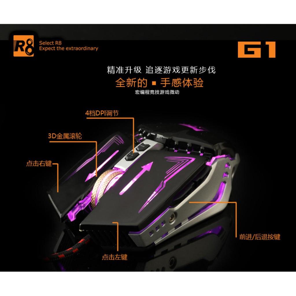 Chuột 8D chơi game cực đỉnh R8 G1 Led đa màu DPI 3200