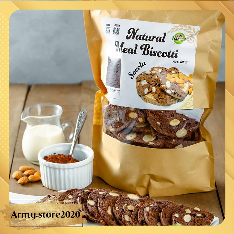 Bánh ăn kiêng Biscotti vị socola, bánh ăn kiêng nguyên cám - B01