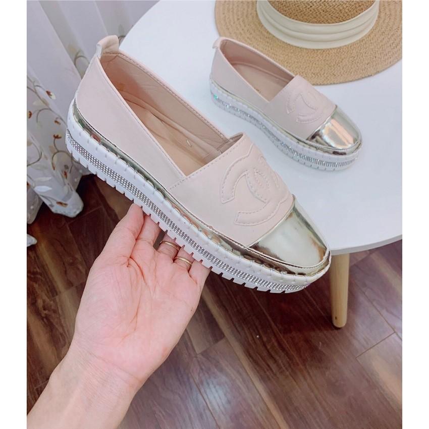 Giày lười nữ búp bê đế độn 2 cm viền đính đá kim cương