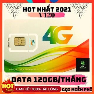 SIM VIETTEL 4G V120 ❤FREESHIP❤ SIM 4G VIETTEL V120 2GB/NGÀY Miễn Phí Gọi nội mạng và 50 phút ngoại mạng