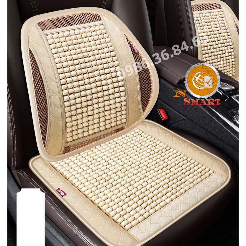 Lót ghế và tựa lưng hạt gỗ ô tô văn phòng massage cao cấp chống nóng hiệu quả