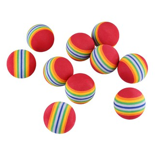 10Pcs Rainbow Stripe Sponge Golf Tennis Ball Swing Practice Training Aid