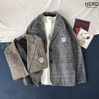 [Siêu Lạ] Áo Blazer Caro Form Rông Dài Tay BZ09, Áo Khoác Vest Blazer Học Sinh Hàn Quốc Nam Nữ Thời Trang HERO