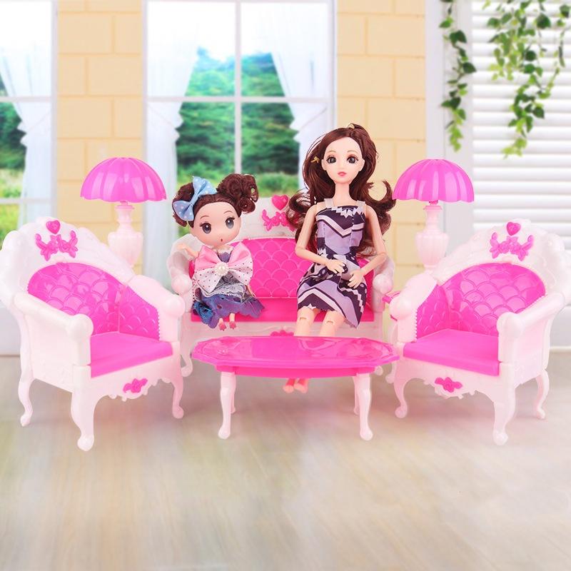 Set 6 món Sofa bàn ghế cho búp bê Barbie,búp bê Xinyi,búp bê Licca, phụ kiện đồ chơi, búp bê nội thất cho bé
