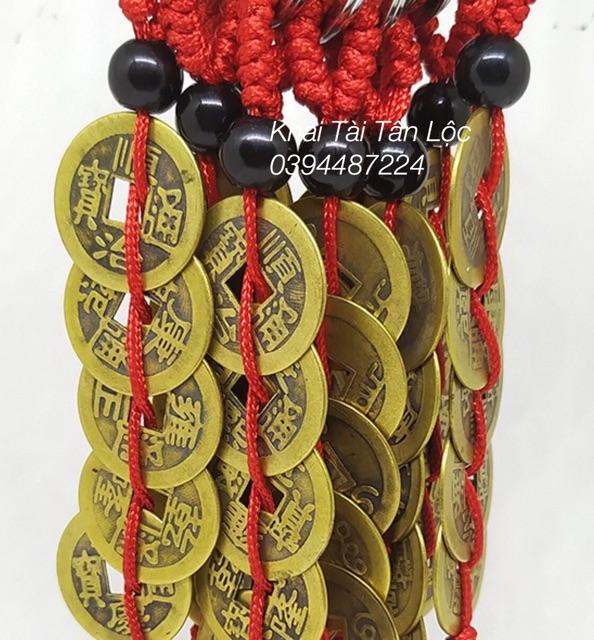 Móc khoá 5 đồng xu ngũ đế dây đỏ phong thủy
