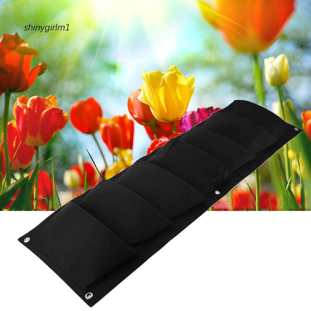 SYGL_7 Pockets Wall Mounted Vertical Vegetable Plant Flower Growth Non-woven Bag