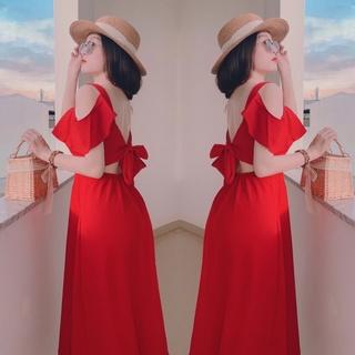 Đầm maxi đi biển du lịch dáng xoè cao cấp,Đầm maxi đỏ cột nơ