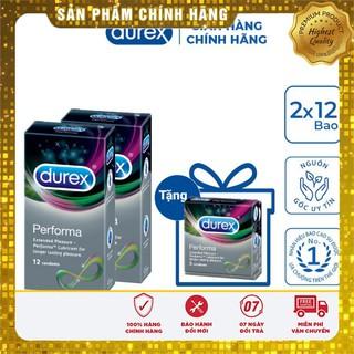 [CHÍNH HÃNG] Bộ 2 hộp bao cao su Durex Performa (12 bao/hộp) + Tặng 1 hộp bao cao su Durex Performa 3 bao