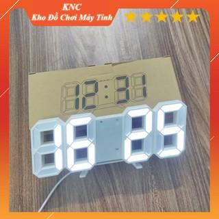 Đồng hồ LED 3D treo tường, để bàn thông minh Smart Clock, phiên bản màu trắng
