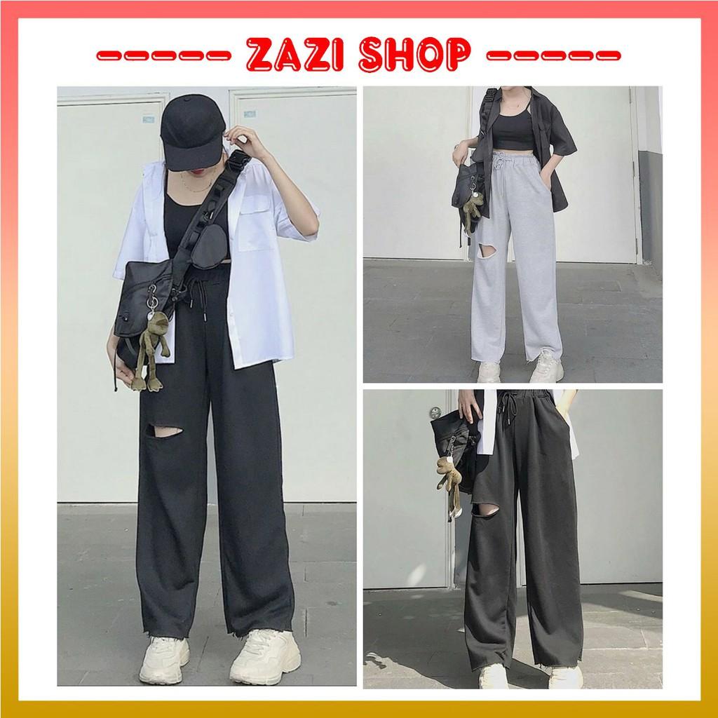 Quần ống rộng nữ, quần ống rộng rách đùi  Quần baggy nữ  Quần ống rộng lưng cao  Quần unisex ống rộng - ZaZi QD03