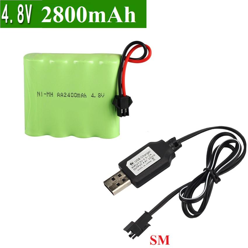 Pin 4.8v dùng cho xe điều khiển dung lượng cao 2800 mah màu xanh lá cổng nối SM