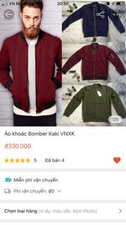 [Thanh lý] Áo khoác Bomber Kaki VNXK