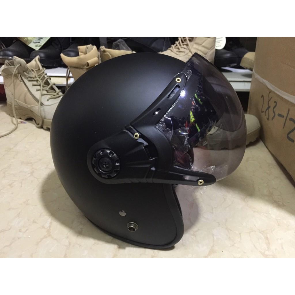 Mũ bảo hiểm 3/4  có kính màu đen hàng chính hãng