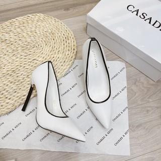 Giày cao gót trắng casadei gót nhọn fullbox hàng cao cấp