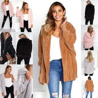 Women Warm Hooded Sweater Coats Front Open Jacket Outwear Pink S