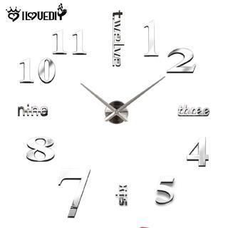 [DS] Đồng hồ treo tường 3D không khung lớn dán cho phòng khách gia đình Phòng ngủ Trang trí văn phòng