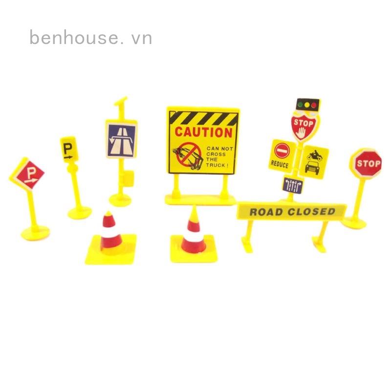 Set 10 mô hình biển báo giao thông trang trí tự làm
