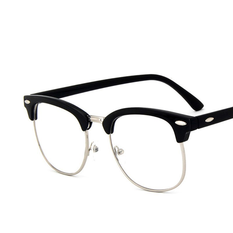vintage semi rimless glasses frame short sight eyeglasses frame